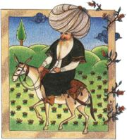 Mullah Nasruddin Traveling to Get Advice on His Flower Garde